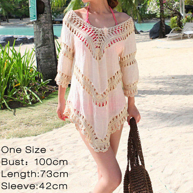 Sexy V neck White Tunic Crochet Lace Top Women Elegant Blouse Ladies Beach Kimono Shirt Big size Blusa Renda mujer chemise femme