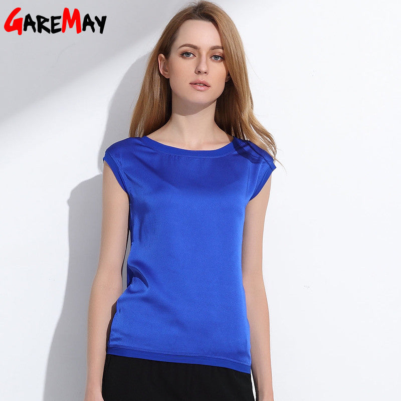 Summer women t shirt Chinese silk  tops tees women clothing chiffon  o-neck fashion women's T-shirts for short sleeve  048