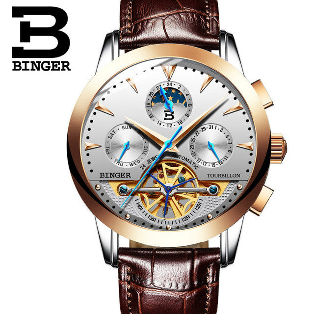 Switzerland Men Top Luxury Brand Watches Automatic Mechanical Watch Stainless Steel Waterproof BINGER relogio masculino B-1188G