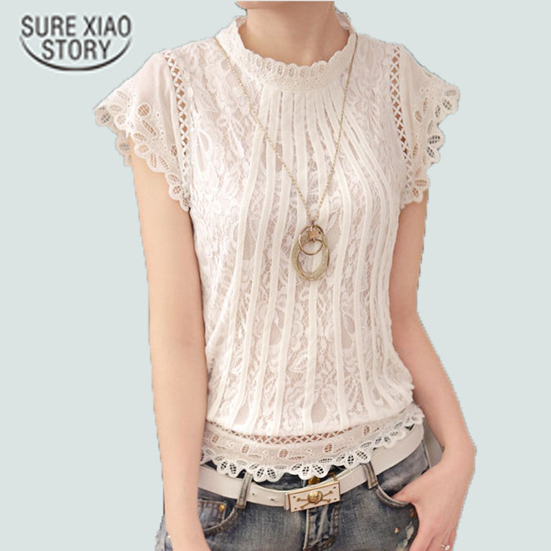 New  Summer Fashion Style Women Blouses Loose Short Petal Sleeve Floral Lace Tops Chiffon O-neck Plus Size Shirt Tops 01C 35