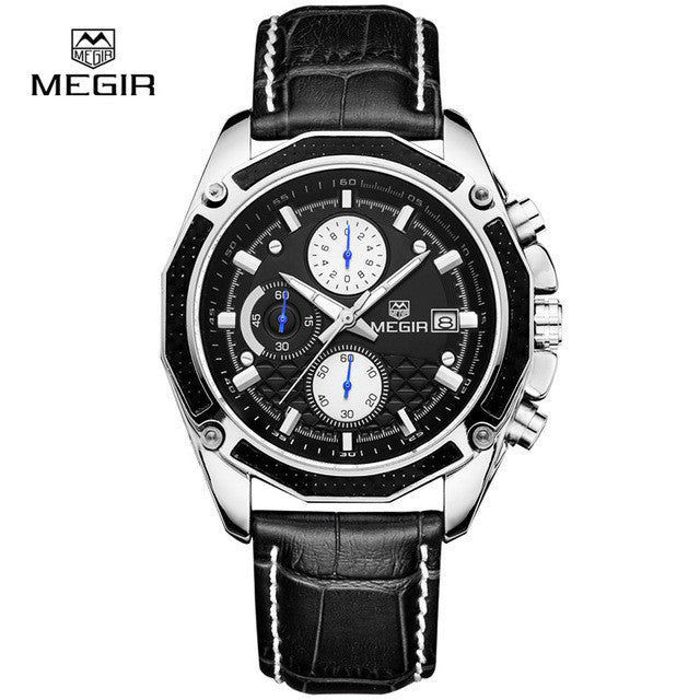 MEGIR Official Quartz Men Watches Fashion Genuine Leather