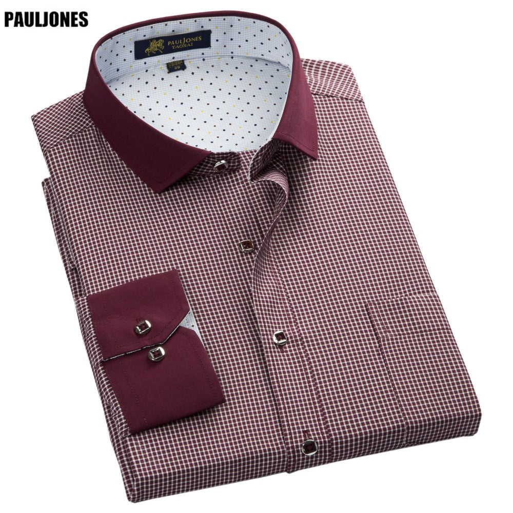 PaulJones 57xx Collar Design Long Sleeve Men's Striped Shirts