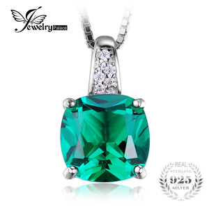 Cushion 3.4ct Created Emerald Solitaire Pendant Sterling Silver Jewelry For Women Gift