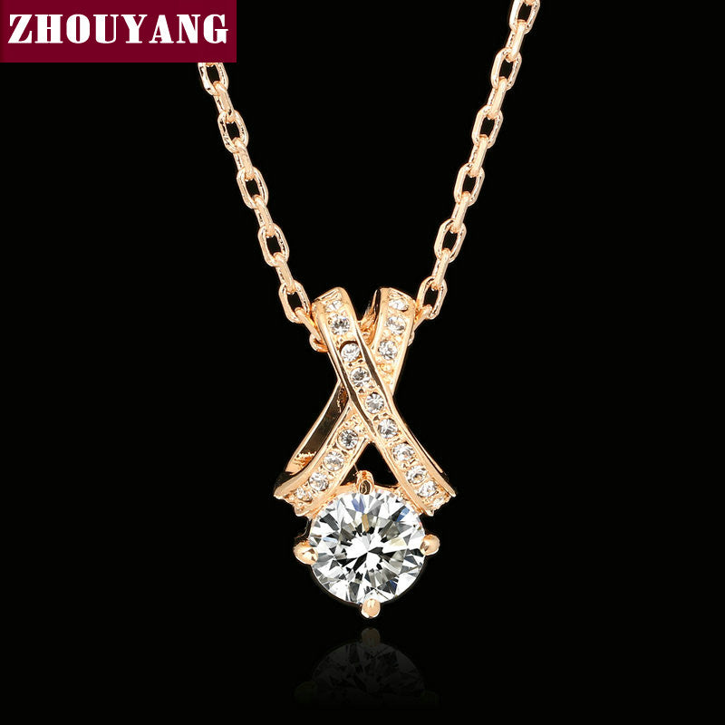 Top Quality Crystal Necklace Rose Gold Color Fashion Jewellery  Pendant Crystal