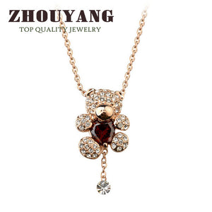 Top Quality Crystal Heart Bear Rose Gold Color Fashion Jewellery