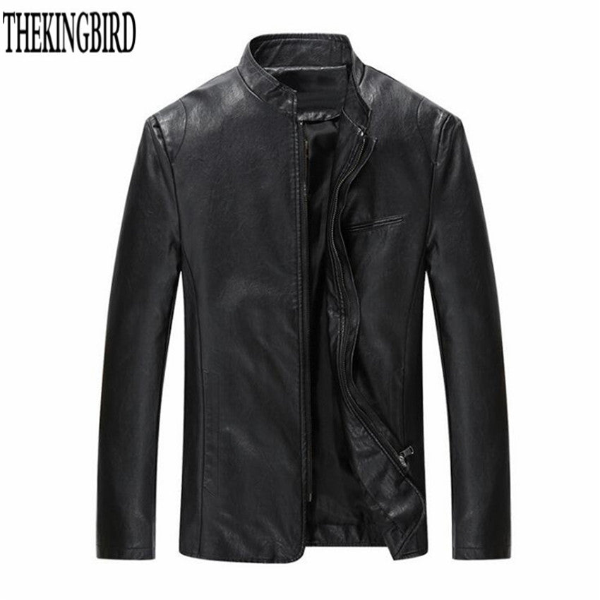 Men Zipper Leather Jacket Black Spring/fall Korean Version Stand Collar Thin Male PU Leather Coat Solid Leisure Slim jackets 4XL