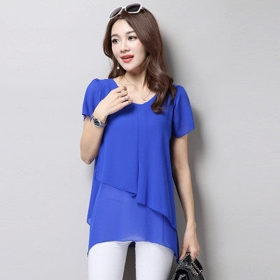 Women Blouses Summer Fashion Short Sleeve Vintage Chiffon Blouse Plus Size Women Clothing Ladies Tops Blusa Feminina