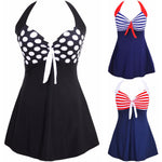 Newest Sexy  Stripe Padded Halter Skirt Swimwear Women One Piece Swimsuit Beachwear Bathing Suit Swimwear Dress Plus Size M-4XL