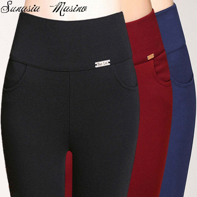 Summer fashion 3 color women high waist  pants S-6XL,5XL,4XL  calf-length Capri plus size