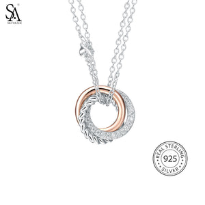 SA SILVERAGE Real 925 Sterling Silver Long Necklaces Pendants Rose Gold Color Fine Jewelry Love 925 Silver Maxi Pendant Necklace