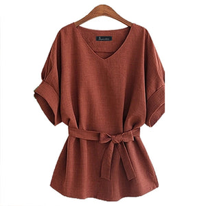 New Kimono Summer Women Blouse Big Large Plus Size 5XL Brown Loose Shirts Women Tops V Neck Blouses Vintage Linen Big Bow D