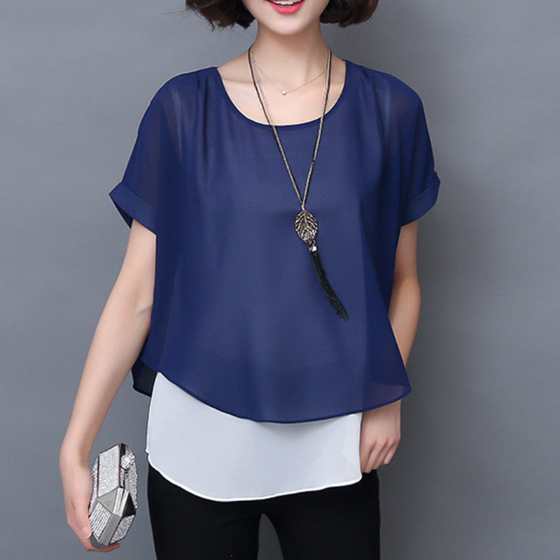 Soperwillton Summer Blouses Women Shirts Elegant Short Sleeve Fake Two Pieces Chiffon Blouse Casual Lady Tops Shirt  #B957