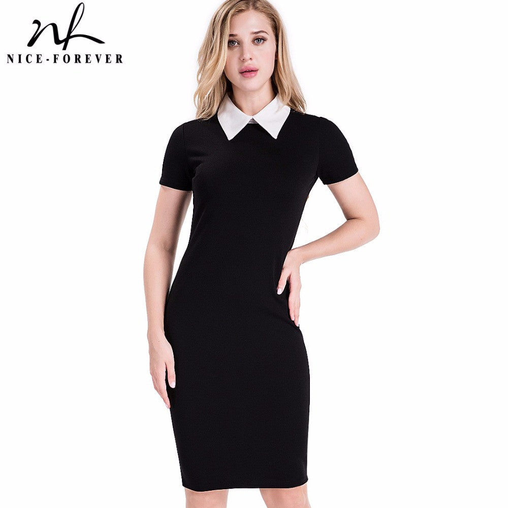 Nice-forever Career Women Autumn Turn-down Collar Fit Work Dress Vintage