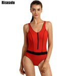 Riseado One Piece Swimsuits Bandage Swimwear Women Swimming Sports Suit Backless Sexy Zipper Swim Wear Bathing Suits