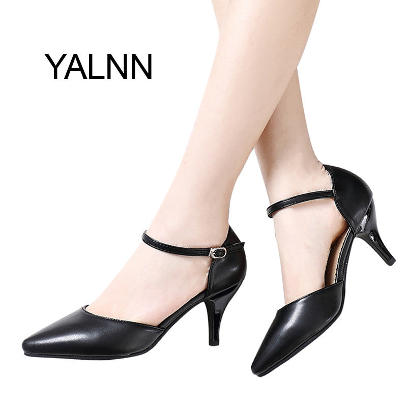 YALNN Women Spring Pumps Buckle Strap High Thin Heels for Women Pointed Toe Career Shoes
