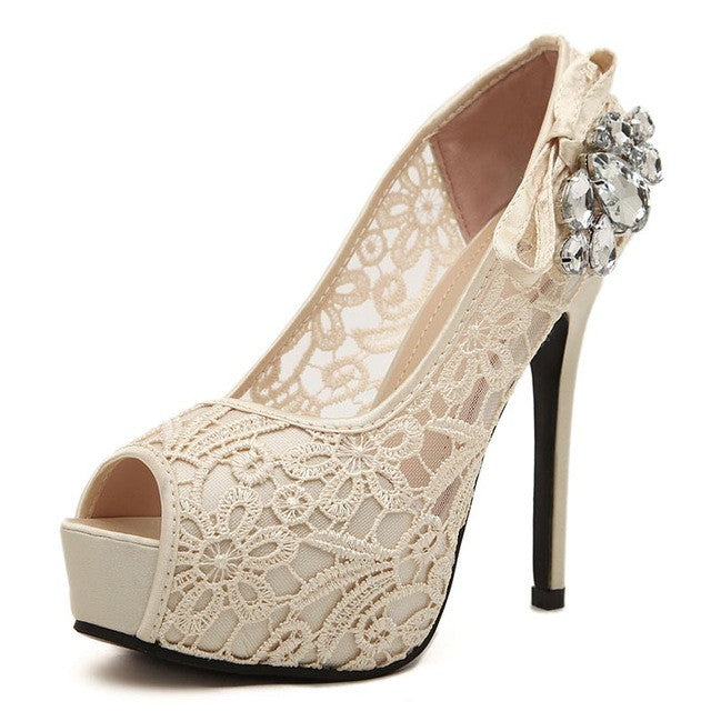 MCCKLE Women's Sexy Peep Toe Lace Party Shoes