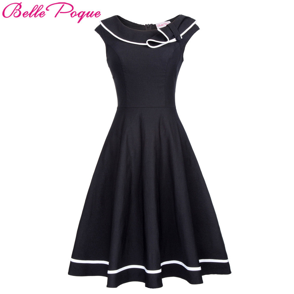 Women Vintage Rockabilly Dress 50s Nautical Sailor style Summer Retro Black Dresses
