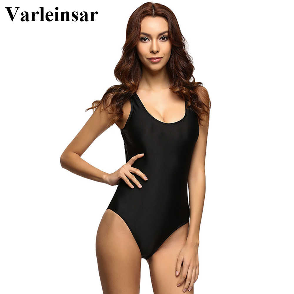 Varleinsar Black Sexy Scoop back Female Swimsuit one piece swimwear women backless monokini bathing suit swim wear V128