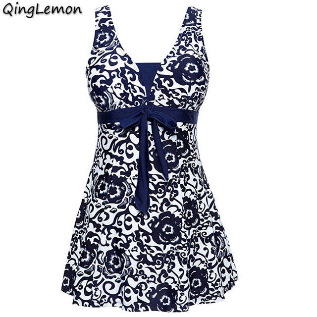 QingLemon M-4XL Plus Size One Piece Swimsuit Skirt  Push Up Swimwear Women Dress Bathing Suit Large Size Swim Suit For Women
