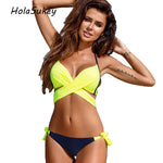 HolaSukey Sexy Bandage Backless Bikini Women Swimwear Brazilian Swimsuit