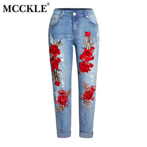 MCCKLE High Waist Ripped Knees Denim Jeans Floral Embroidery Women's Stretchy Skinny Slim Pants Trousers Woman Pencil Jeans