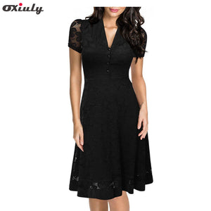 Oxiuly Women Summer Hepburn Vintage Black Lace Dress 50s Rockabilly Dresses Slim Elegant Evening Party Ladies Wear Vestidos