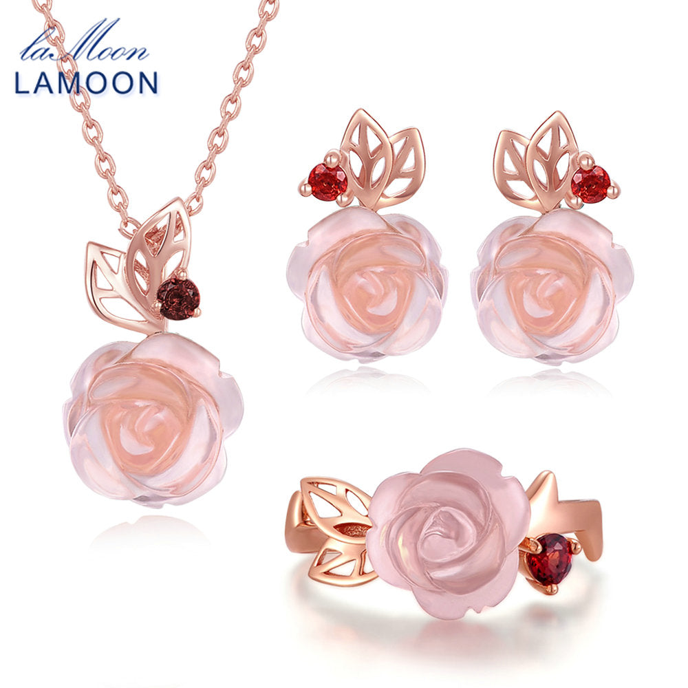 LAMOON FlowerRose Natural Pink Rose Quartz Sterling Silver Jewelry  Jewelry Set