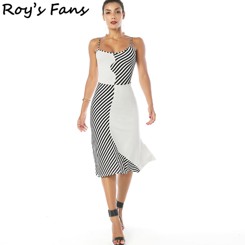 Roy's Fans  Women Summer Autumn Vintage Beach Sleeveless Dress Evening Party Club Casual Bodycon Striped Sexy Dress