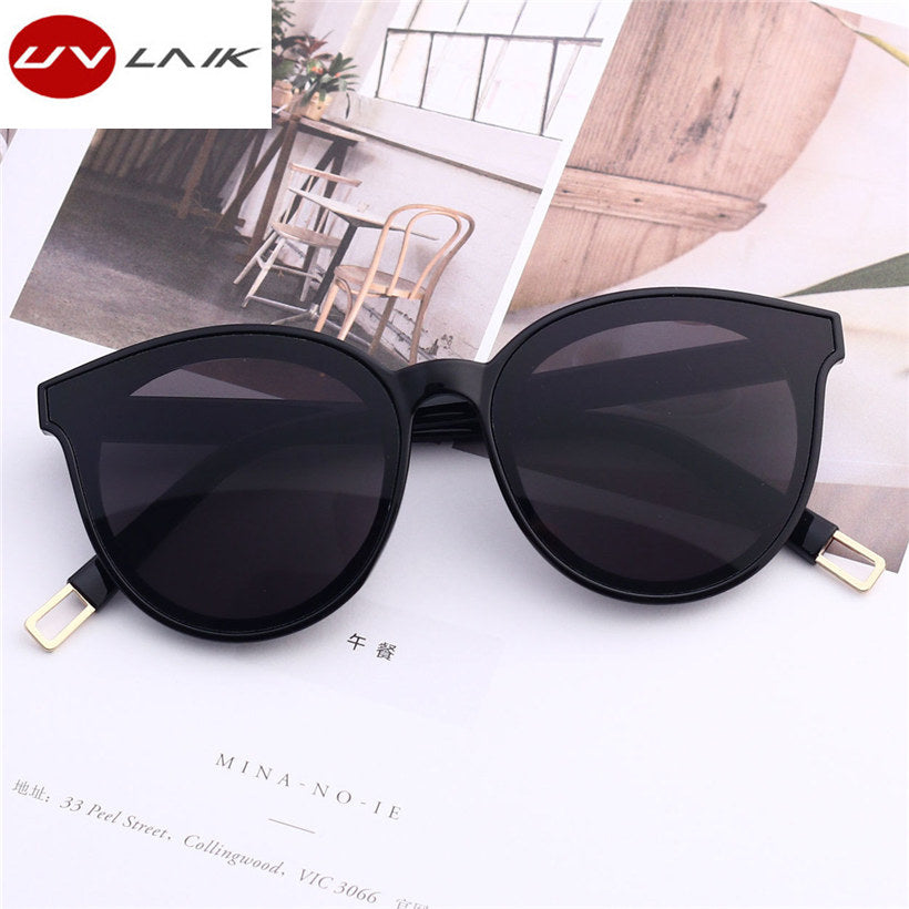 UVLAIK Fashion Brand Designer Cat Eye Women Sunglasses Oversized Vintage Eyewear