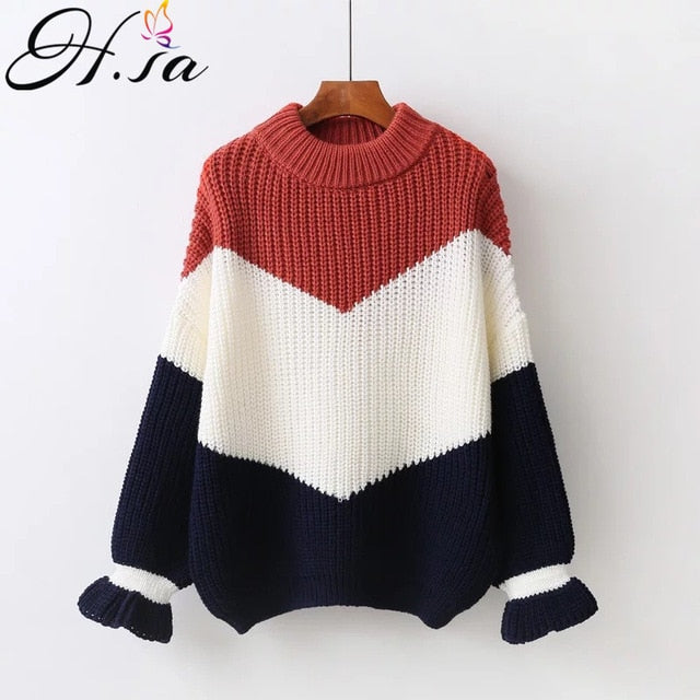 H.SA Winter Pull Sweaters Women Fashion Loose Jumpers Thick Christmas Sweater