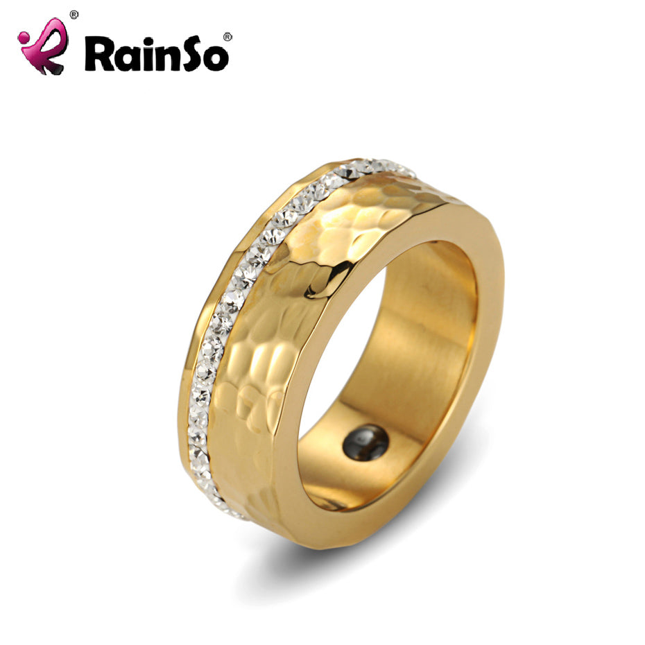 RainSo Women's Ring Hematite Health Ring Full Rhinestones Elegant Stainless Steel Bio Energy magnet Jewelry USA Size Mens Ring