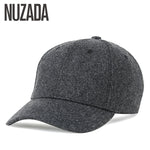 Brand NUZADA Autumn Winter Keep Warm Snapback Bone Men Women Baseball Caps Hats Cap Simpl Color Black Grey Woolen