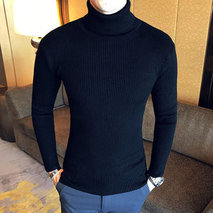 Winter High Neck Thick Warm Sweater Men Turtleneck Brand Mens Sweaters Slim Fit Pullover Men Knitwear Male Double collar