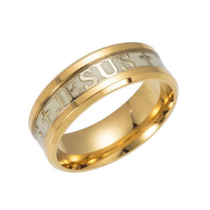 ERLUER Euramerican Rings For Men Women Jesus Cross stainless steel Luminou Glow In Dark Black Blue Band Ring Wholesale Jewelry