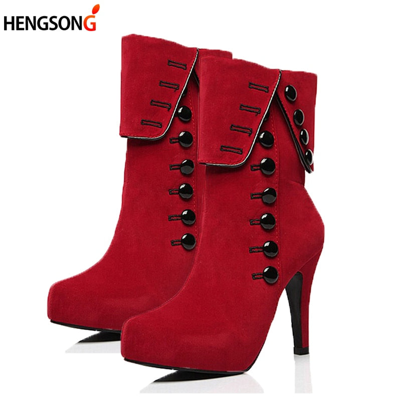 Fashion Women Ankle Boots High Heels Red Shoes