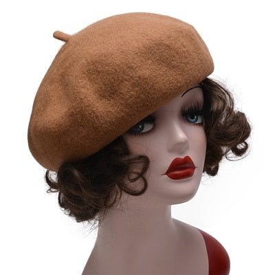 Lawliet Pure Wool Beret Hat Autumn Winter Women Beret Cap Adjustable Flat Top France Casual Cap Feminina Cap