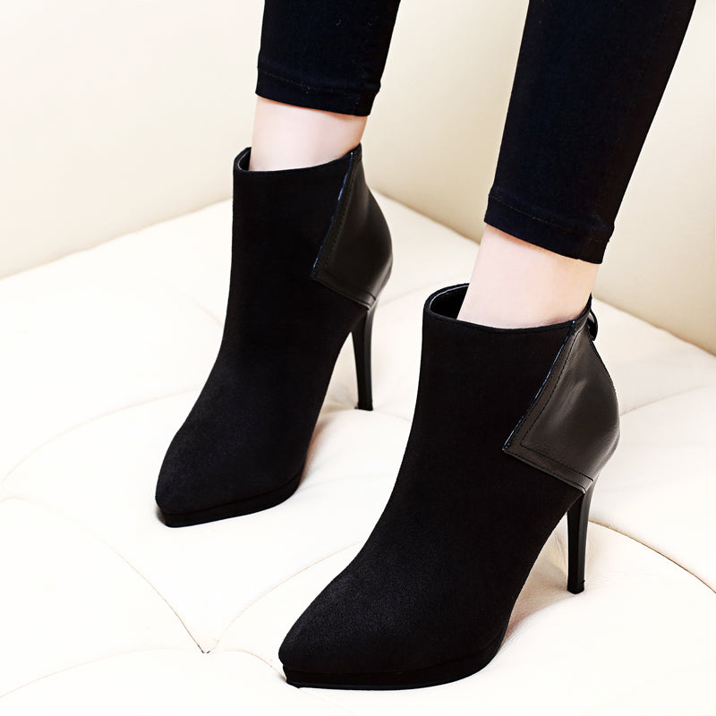 New Black Flock Leather Patchwork Ankle Boots Women's Fashion Female Pointed Toe Zip Stiletto Thin High Heel Sexy Shoes CH-A0013