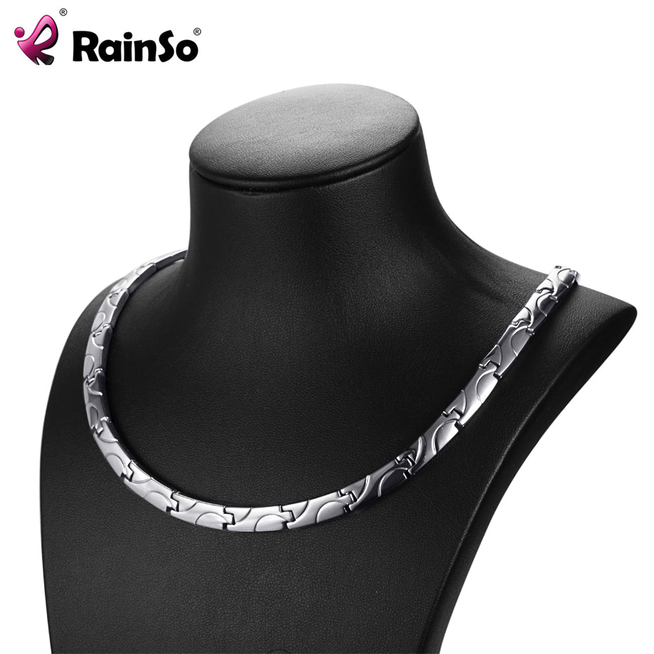 RainSo Bio Energy Magnetic Necklace 2018 Fashion Healing Titanium Power Necklaces Classic Link Chain For Women Health Jewelry