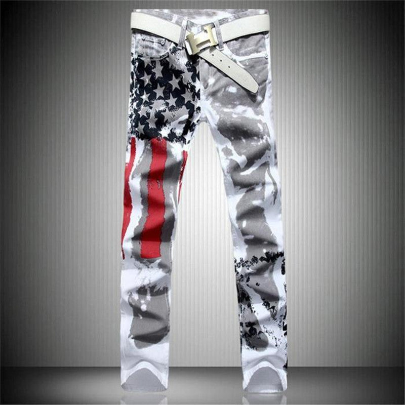 New White Printed Fashion Men Jeans Elastic Printing American Flag Jeans