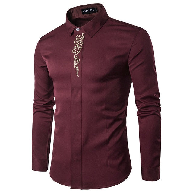 Men's Fashion Luxury Brand Shirt 2018 New High-end Male Dress Shirt Casual Business