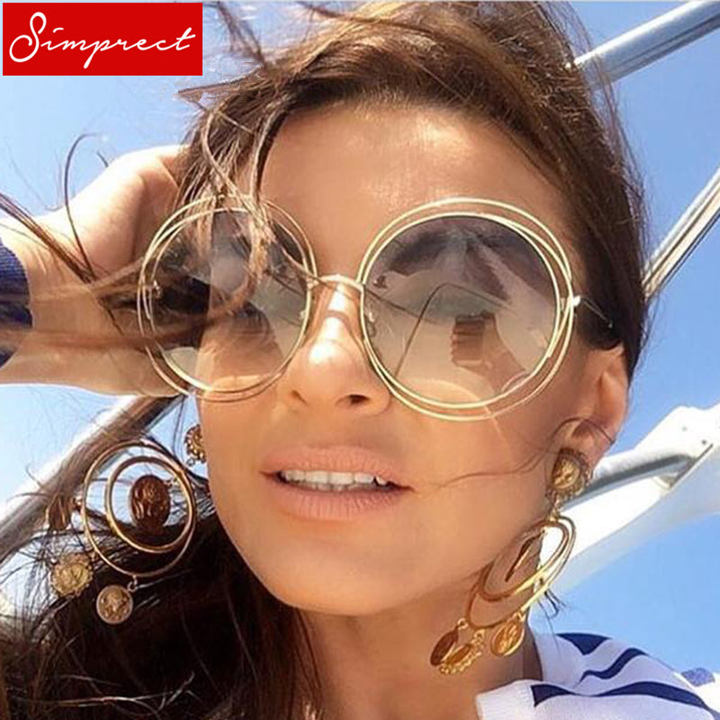 SIMPRECT Oversized Round Sunglasses Women 2018 Retro Mirror UV400