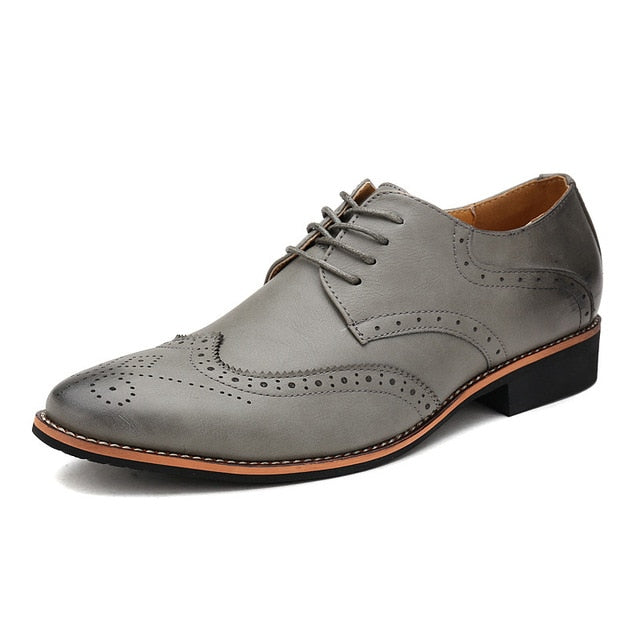 Pointed Toe Leather Men Lace Up Oxfords Shoes British Style Casual Brown Black Gray White