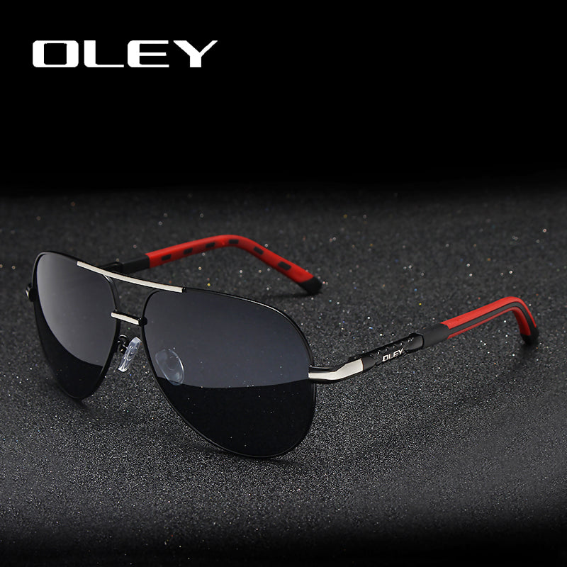 OLEY Brand Men Vintage Aluminum Polarized Sunglasses Classic Pilot Shades For Men/Women