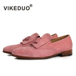 Vikeduo 2018 Handamde Fashion Luxury Dress Shoes Casual Pink Suede Flat Men's Loafer Shoes Custom Bespoke Footwear