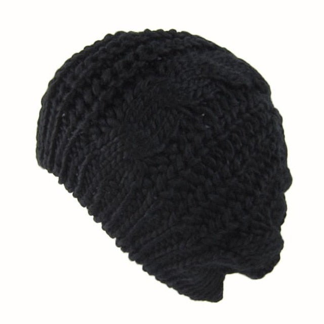 New 2018 New Style Fashion Women's Lady Beret Braided Baggy Beanie Warm Winter Hat Ski Cap Wool Knitted boina feminina