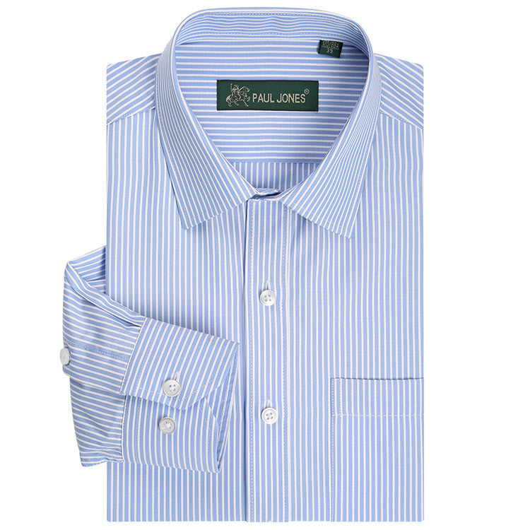 Classic Striped Men Dress Shirts Long Sleeve