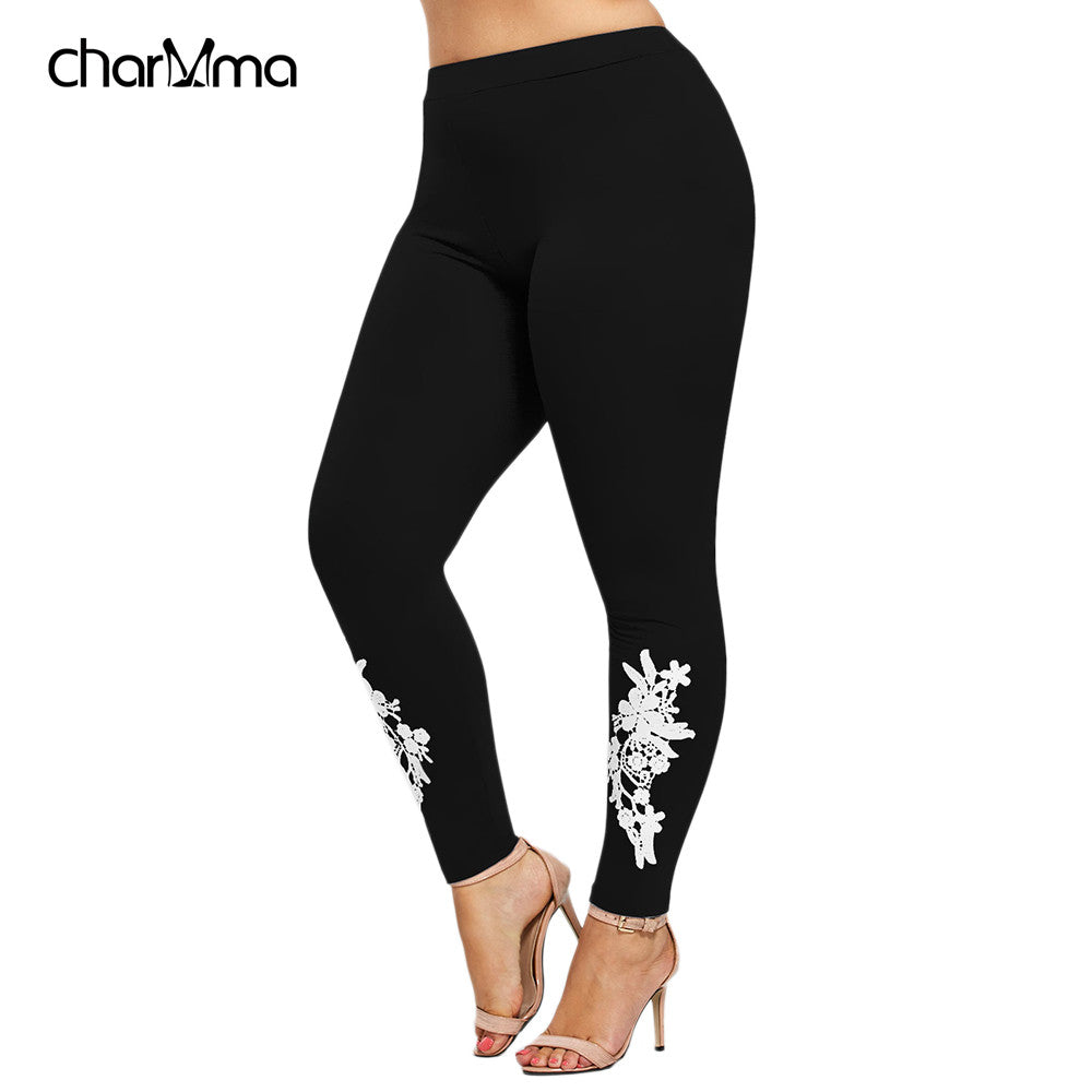 fitness leggings Women Plus Size Pants 5XL Appliqued Skinny Jersey Legging Floral Print Mid Waist legins Trouser Pencil Pant