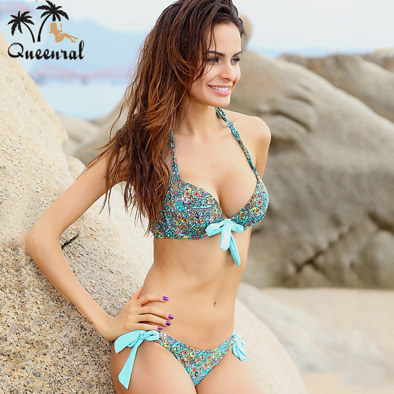 push up bikini roupa de praia  Swimwear Women Padded Fringe Bandeau Bikini Set New Swimsuit Lady Bathing suit