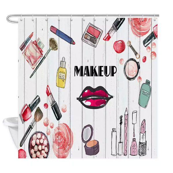 Makeup Theme Shower Bath Curtains Lipstick Perfume - lexinoelbeauty.com