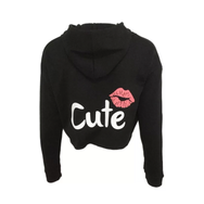 Crop Top Hoodie Lip Theme Sweatshirt